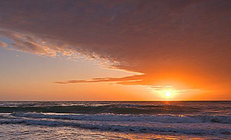Sabaudia beach in the evening