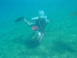 diver cleaning