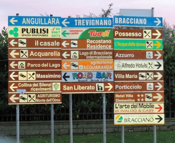 Trevignano street signs