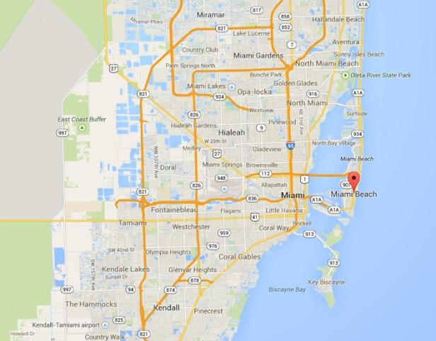 Miami beach on the map