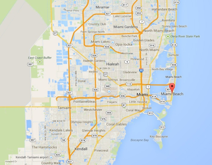 Miami beach on the map